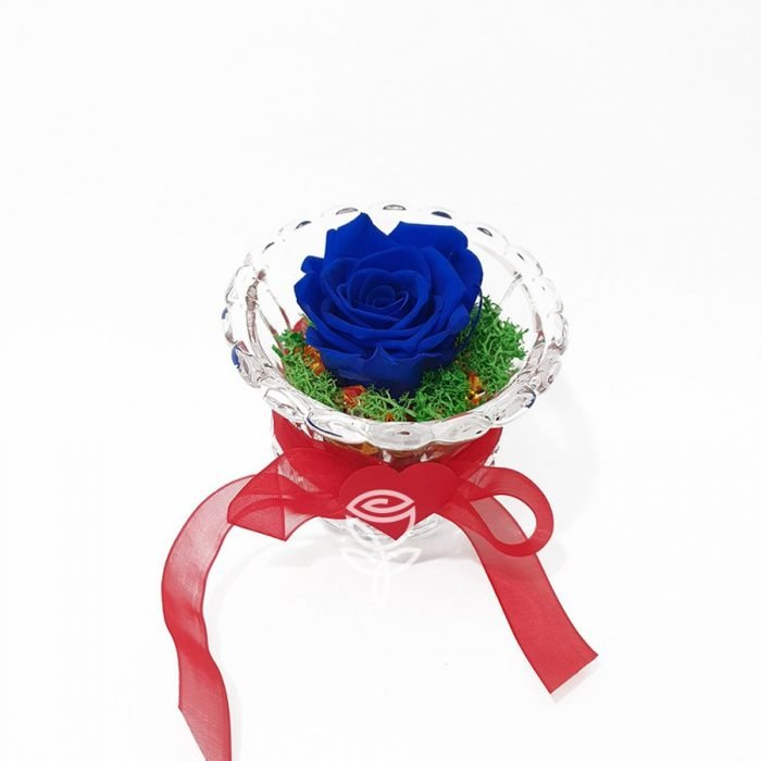 copa rosa preservada azul rosa eterna