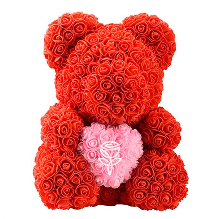 Oso de rosas rojo con corazón