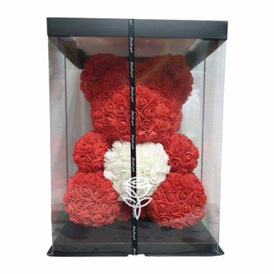 oso de rosas rojo en caja