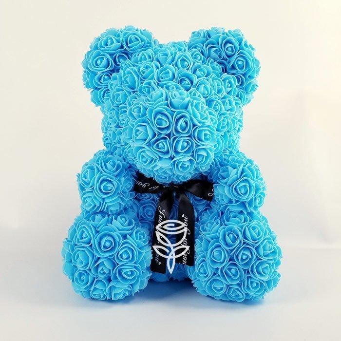 oso de rosas azul
