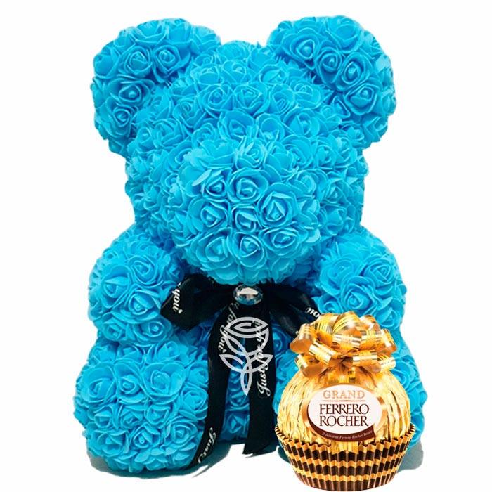 osos de rosas azul con chocolate grand ferrero rocher