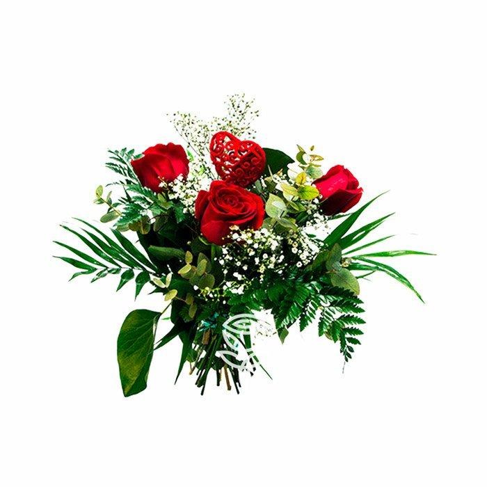 ramo de 3 rosas rojas ecuatorianas
