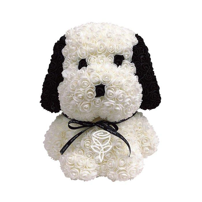 perro de rosas blanco de 45cm