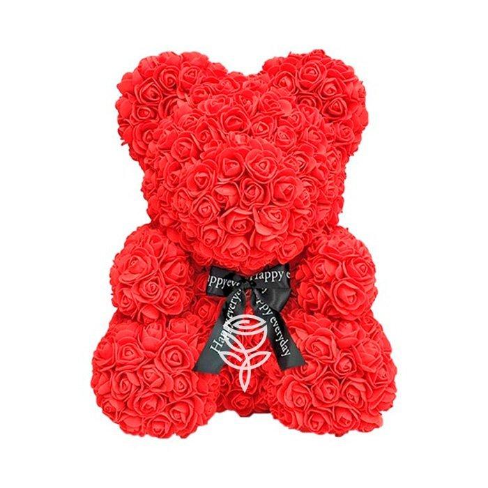Oso de rosas rojo con lazo