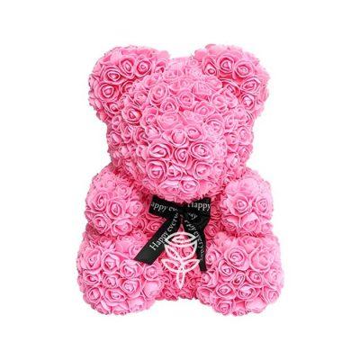 Oso de rosas rosado con lazo