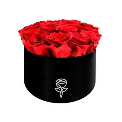 Caja negra de 8 rosas preservadas rojas