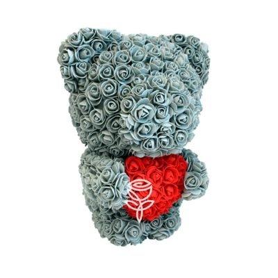 Oso de rosas gris 40cm