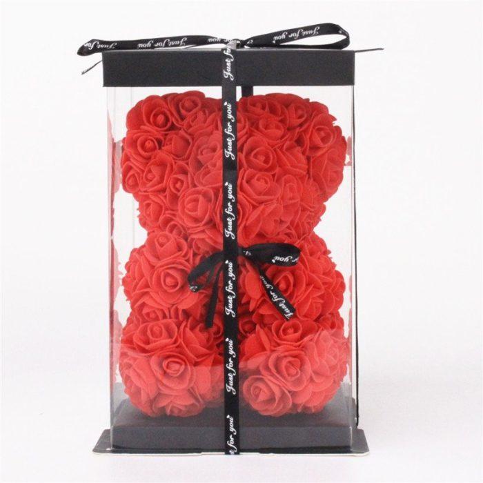 Oso de Rosas Rojo 25cm con Lazo