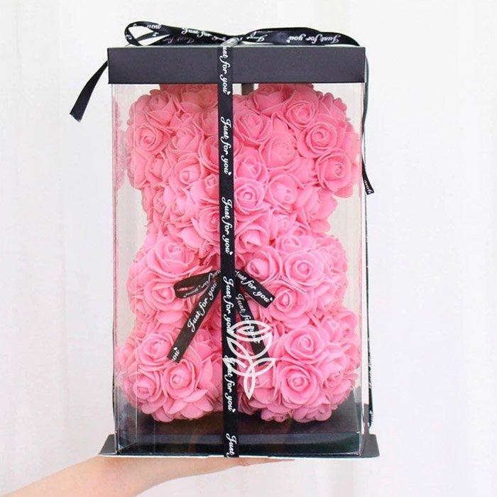Oso de rosas rosado 25cm con lazo