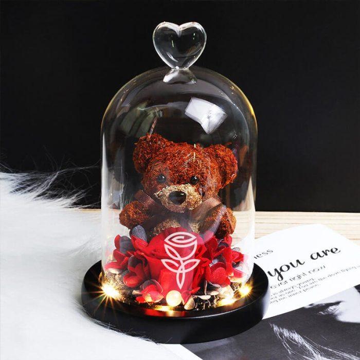 Rosa preservada roja con oso